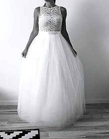 Šaty - Svadobné šaty s krajkovým topom a s tylovou sukňou - 9813544_