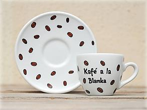 Nádoby - Porcelánová šálka s podšálkou na espresso (80 ml) - Kávové zrnká - 9811865_