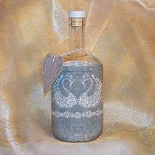 Nádoby - Ozdobná fľaša k výročiu Strieborná svadba - 9811843_