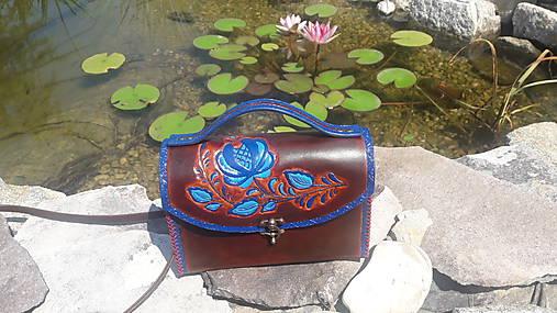 Kožená kabelka ľudový motív - hnedá