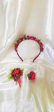 Sady šperkov - Kvetinový svadobný set v bordovej a ružovej farbe - 9813051_