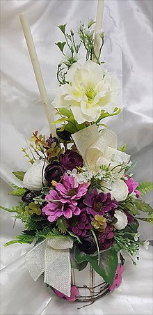 Dekorácie - Vysoký aranžmán z fialových a béžových kvetov - 9813145_