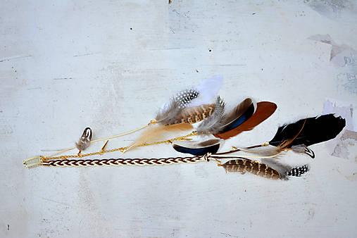 Hippie prírodný hair clip s perím
