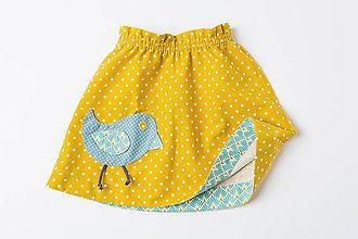 Detské oblečenie - Suknička s vtáčikom - 9814773_