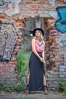 Sukne - Dlhá čierna sukňa - 9811952_