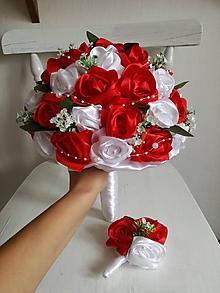 Kytice pre nevestu - Červeno biela z ruží - 9812488_