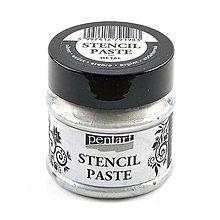Farby-laky - Šablónovacia pasta, perleťová, 50 ml, Pentart, rôzne farby (strieborná) - 9815194_