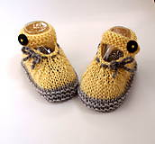 Topánočky - Bledožlté sandálky so sivou mašličkou (strižná vlna) - 9816942_