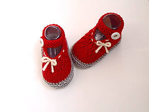 Topánočky - Červené sandálky z merina - 9816827_