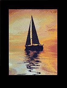 Grafika - Večerná loďka - 9816139_