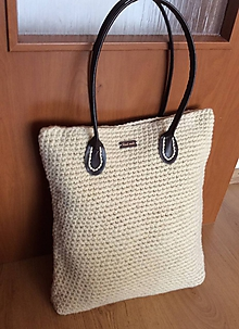 Veľké tašky - háčkovaná prírodná taška - 9817157_