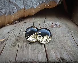 Náušnice - Kruhy 15 mm dúhové (čierno-zlaté) - 9817386_