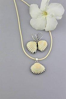 Sady šperkov - mušličky prívesok a náušnice (patenty striebro Ag925/1000) - 9815044_