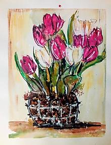 Kresby - Akvarelový obraz Tulipány - 9815472_