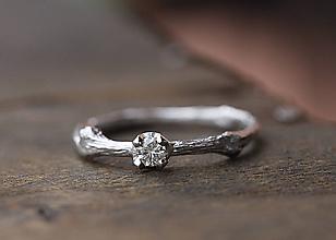 Prstene - Vetvičkový zlatý s diamantom - 9815349_