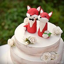 Dekorácie - Svadobné líšky (menšie) - figúrky na svadobnú tortu - 9815799_