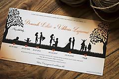Papiernictvo - Svadobné oznámenie - Príbeh lásky oranžová - 9815426_