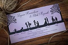 Papiernictvo - Svadobné oznámenie - Príbeh lásky fialová - 9815451_