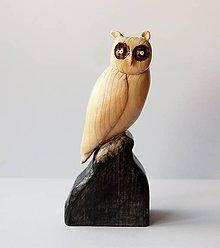 Dekorácie - Drevená soška/ dekorácia - Sova okatá - 9817329_