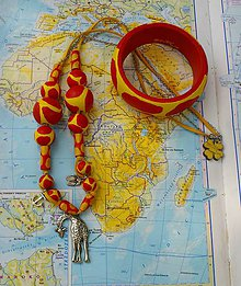 Sady šperkov - Ručne maľovaný set (náhrdelník & náramok)
