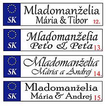 Tabuľky - Svadobná špz-plastová tabuľka - možnosť zmeny fontu, textu, bez SK znaku - 9816834_