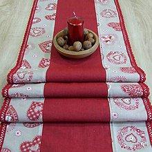 Úžitkový textil - Severské červené srdiečka na režnej(2) - vianočný stredový behúň - 9817609_