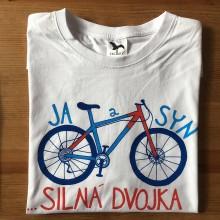 Oblečenie - Otcosynovské maľované tričká s motívom bicykla (Pánske tričko) - 9817666_