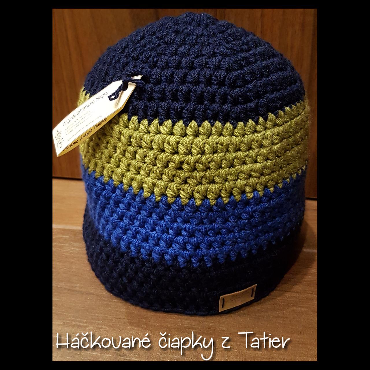 Zimná háčkovaná čiapka 3colora - čierna modrá olivová   Z.M. - SAShE.sk -  Handmade Čiapky 21aa28a381