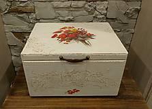 Krabičky - Drevená maxi krabica s jesennou kyticou - 9816912_