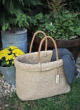 - Jutová taška alebo košík s prehnutým okrajom - 9817781_