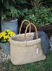 Veľké tašky - Jutová taška alebo košík s prehnutým okrajom - 9817781_