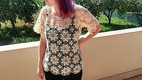 Tričká - Háčkované tričko. - 9818635_