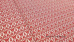 Textil - Bavlna režná - Ornament červený - cena za 10 cm - 9819585_