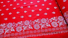 Textil - Bavlnená látka -Kvety s lemom na červenom - cena za 10 cm - 9819647_