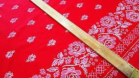 Textil - Bavlnená látka -Kvety s lemom na červenom - cena za 10 cm - 9819648_