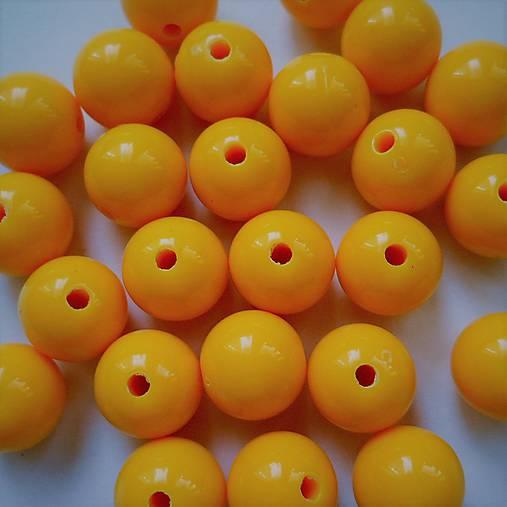 Korálky COLOR plast 10mm (žltá sýta-10ks)