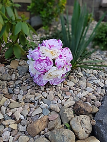 Kytice pre nevestu - svadobná kytica z ružových a krémových pivónií - 9819830_