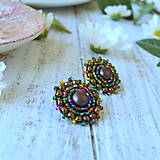 Melange earrings n.3- vyšívané náušnice