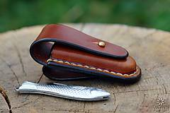 Nože - Kožené puzdro na nožík Rybička - 9819680_
