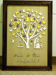 Dekorácie - svadobná kniha hostí/drevený strom 20 - 9819757_