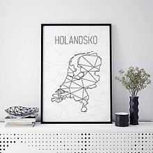Grafika - HOLANDSKO, minimalistická mapa - 9819407_