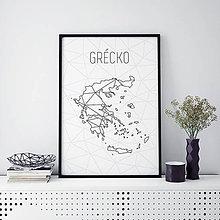 Grafika - GRÉCKO, minimalistická mapa - 9820224_