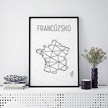 Grafika - FRANCÚZSKO, minimalistická mapa - 9820234_