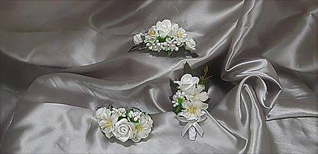 Sady šperkov - Svadobný set z bielych ružičiek a kvetov čerešne - 9820185_