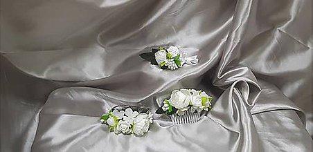 Sady šperkov - Kvetinový svadobný set z bielych kvetov - 9820188_