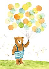 Magnetky - Macko s balónmi - magnetka - 9818420_