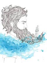 Kresby - Bradáč, námorník - ručne maľovaná ilustrácia - 9820695_