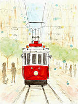Obrázky - Električka - ručne kreslená ilustrácia // tram - 9820717_