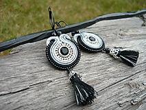 - Soutache náušnice Black&Silver mini elegant - 9822974_