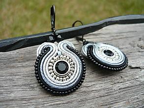 Náušnice - Soutache náušnice Black&Silver mini - 9823084_